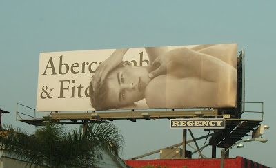 Abercrombie & Fitch male model billboard photographed on Sunset Blvd in April 2008