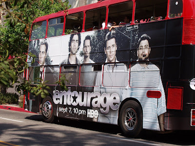 Entourage season 5 cast poster on bus in L.A.
