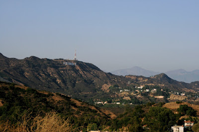 View of the hills with the Hollywood Sign