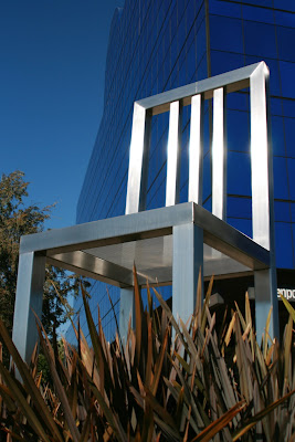 Seat of Design chair sculpture outside the PDC