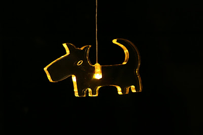 Christmas dog light decoration in yellow
