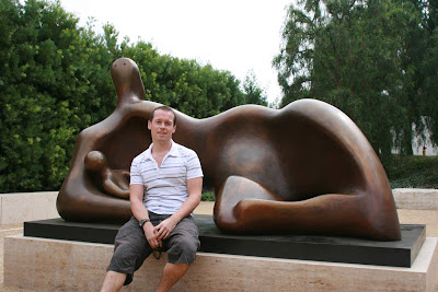jason with Draped Mother and Baby sculpture at The Getty