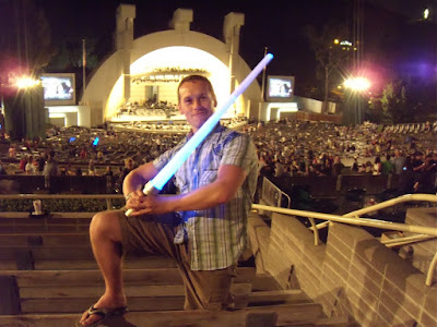 Jason and his lightsaber at the Hollywood Bowl
