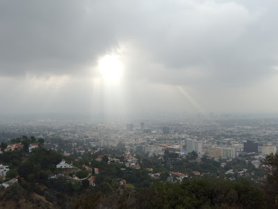 Sun rays shining on Hollywood