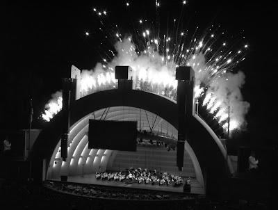 Hollywood Bowl fireworks in mono