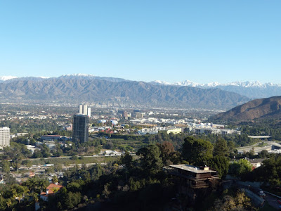 Snow capped mountains surrounding San Fernando Valley