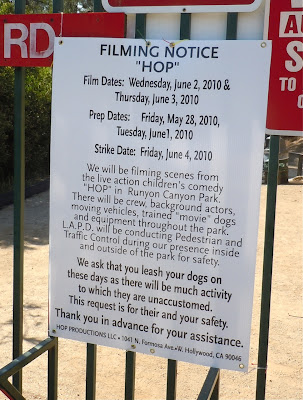 Hop movie filming notice Runyon Canyon
