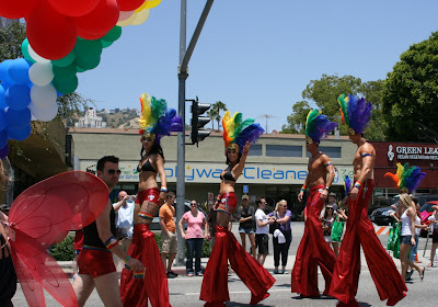 Rainbow stiltwalkers WEHO Pride Parade 2010