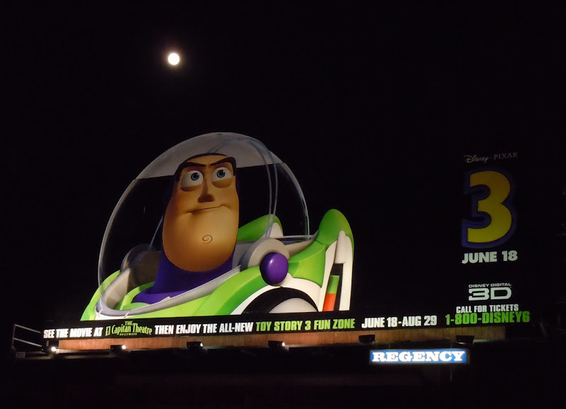 Toy Story 3 Buzz Lightyear billboard by night