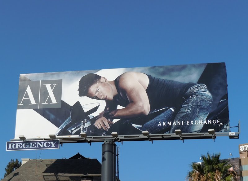 Armani Exchange hot biker boy billboard