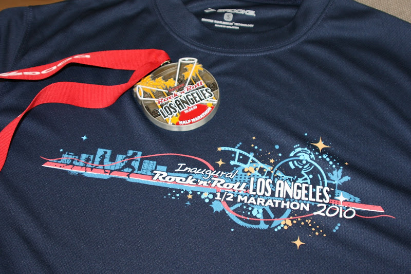 Rock n Roll LA Half Marathon medal and shirt