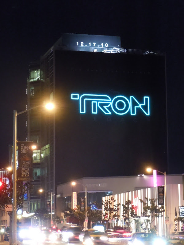 Tron Legacy Sunset Strip billboard at night