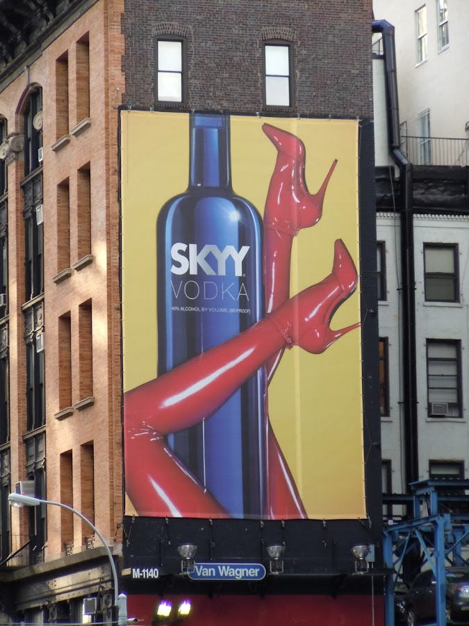 Skyy Vodka red heels billboard New York