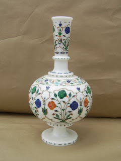 White Marble Inlay Art Vases and Lamps