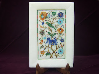 White Marble Inlay Art Trays