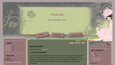 Tired Girl Blogger Layout