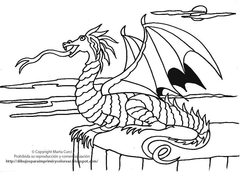 Colorear Dragones Para Dragones Para Colorear: DIBUJOS PARA COLOREAR: Dibujo Para Imprir Y Colorear Un Dragn