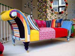 Colorido sillón estilo DIY familiar