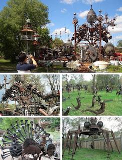 escultura con desechos metalicos