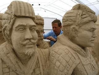 arte en arena, soldados chinos