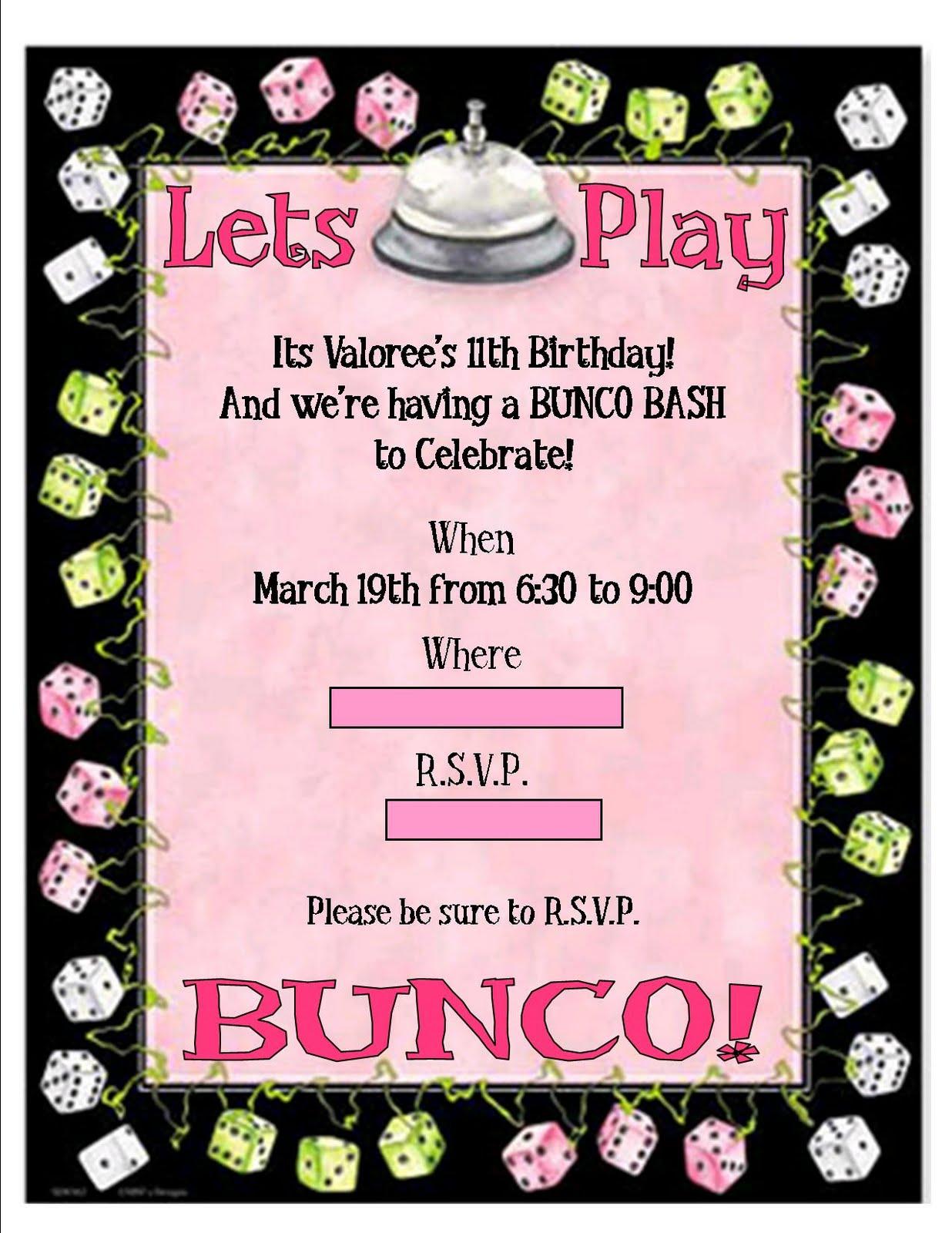 Free Printable Bunco Party Invitations