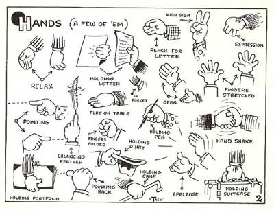 How to draw Cartoon Hands from Tack's Cartoon Tips for the Aspiring Cartoonist