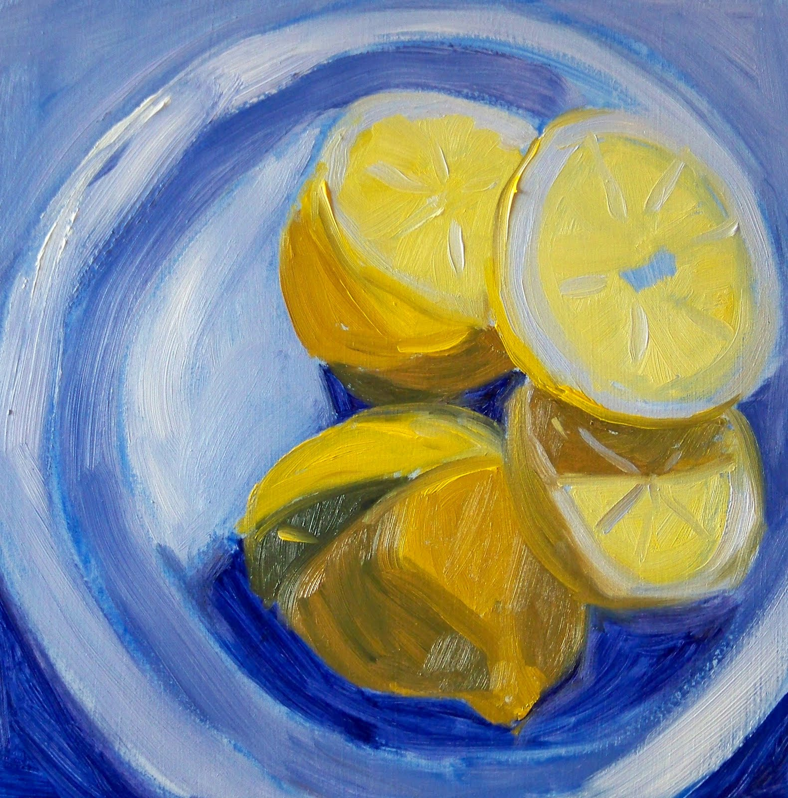 Painting Small Impressions: Lemon Blue, Oil Painting
