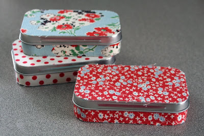 Green Bee Fabric Covered Altiod Tins