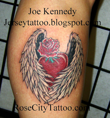 Winged Heart And Rose Tattoo Tattoo Connection