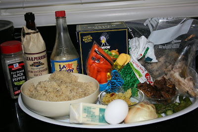 the ingredients needed to make crockpot fried rice in the slow cooker