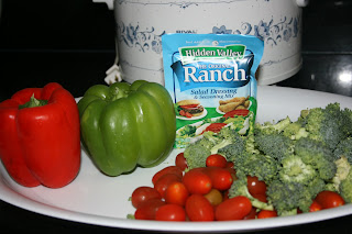 toss dry ranch seasoning powder with fresh veggies, add a tiny bit of water and throw into the crockpot! great simple side dish when you don't want to watch the stove or oven.
