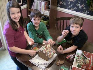 Kidlets building Gingerbread Houses - QuiltedJoy.com