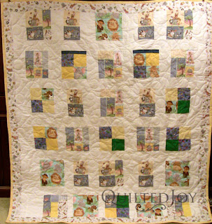Zoo Animal quilt with Double Bubble Pantograph - QuiltedJoy.com