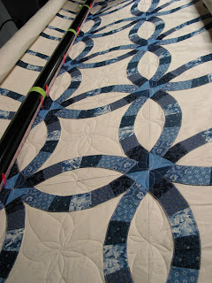blue double wedding ring quilt top