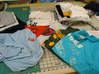 Patty's Tshirt Memory Quilt, quilted by Angela Huffman (under construction)
