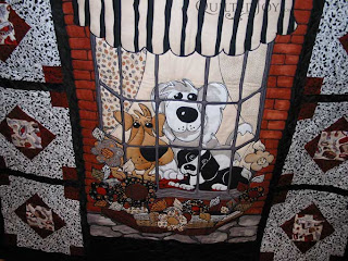 Dog Panel Quilt with custom quilting by Angela Huffman - QuiltedJoy.com