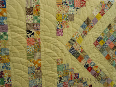 Postage Stamp with Baptist Fan Edge to Edge Quilting by Angela Huffman - QuiltedJoy.com