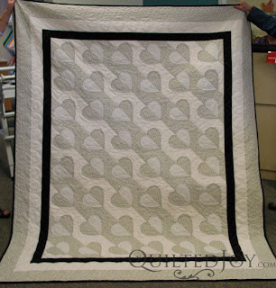 Madeira Hearts Wedding Gift Quilt with custom quilting by Angela Huffman - QuiltedJoy.com