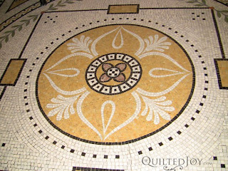 You can find quilting designs everywhere, even in a floor mosaic! - QuiltedJoy.com