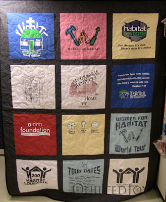 Habitat for Humanity T-Shirt Quilt, pieced and quilted by Angela Huffman - QuiltedJoy.com