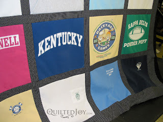 T-shirt quilt on the APQS longarm frame! - QuiltedJoy.com