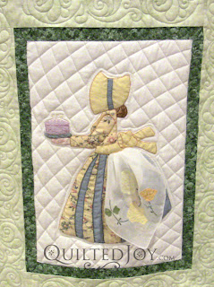 June block in a Hankie Lady Obsession Quilt with custom quilting by Angela Huffman - QuiltedJoy.com