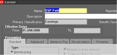 Oracle Applications: Statutory Sick Pay(SSP)