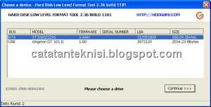 Menggunakan HDD Low Level Format Tool