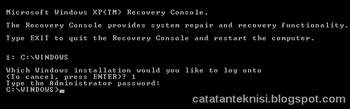 recovery console-password
