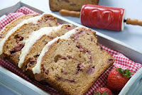 Strawberry Bread with White Chocolate Truffle Icing
