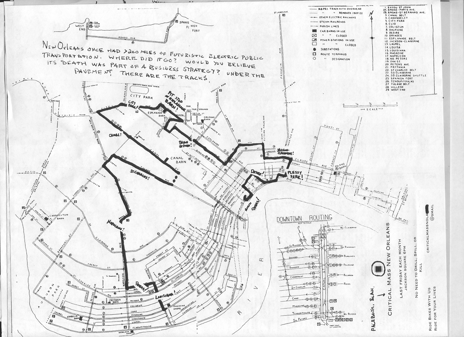 Streetcars In New Orleans Map.Nolacycle Bike Map Project Thanks For The Streetcar Ride