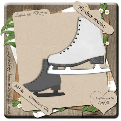 Ice Skate Template - By: Aquarius Scrapability