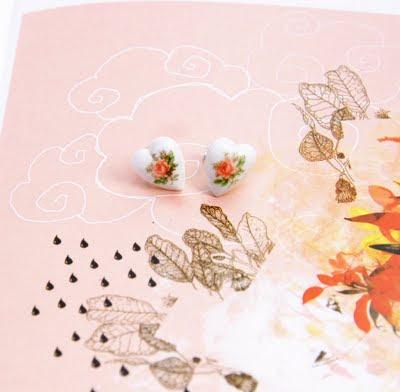 porcelain heart earrings