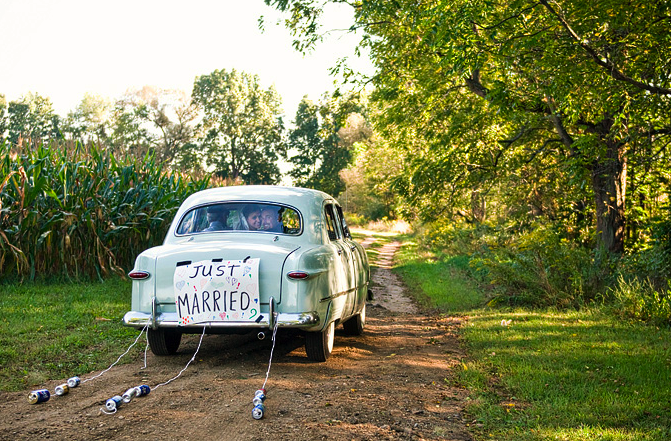 Antique Wedding Car With Just Married Sign Stock Photo ...  Vintage Just Married